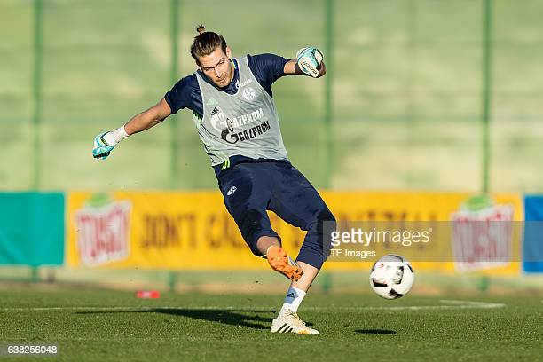 Goalkeeper Fabian Giefer of Schalke in action during the Training Camp of FC Schalke 04 at Hotel Melia Villaitana on January 08, 2017 in Benidorm,...