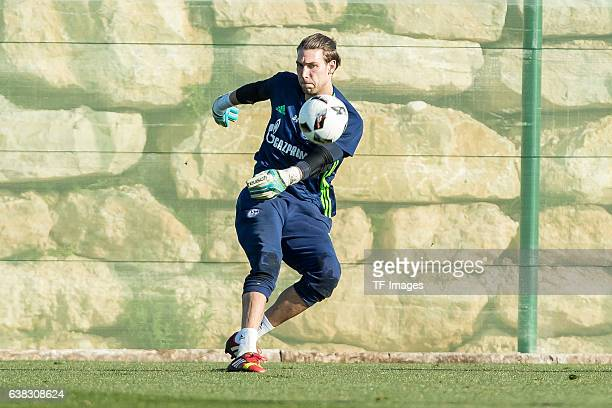 Goalkeeper Fabian Giefer of Schalke in action during the Training Camp of FC Schalke 04 at Hotel Melia Villaitana on January 09, 2017 in Benidorm,...