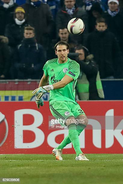 Goalkeeper Fabian Giefer of Schalke in action during the UEFA Europa League match between FC Salzburg and FC Schalke 04 at Red Bull Arena in...