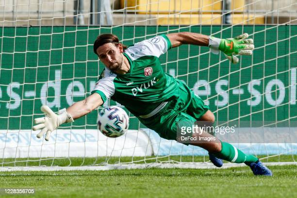 Goalkeeper Fabian Giefer of Wuerzburger Kickers controls the ball during the Toto-Pokal final match between TSV 1860 Muenchen and Wuerzburger Kickers...