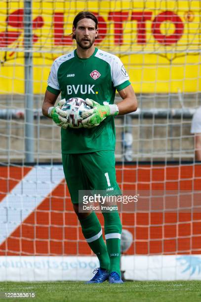 Goalkeeper Fabian Giefer of Wuerzburger Kickers looks on during the Toto-Pokal final match between TSV 1860 Muenchen and Wuerzburger Kickers at...