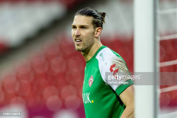 Goalkeeper Fabian Giefer of Wuerzburger Kickers looks on during the Second Bundesliga match between 1. FC Nürnberg and FC Würzburger Kickers at...