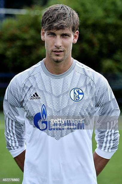 Goalkeeper Fabian Giefer poses during FC Schalke 04 team presentation at VeltinsArena on July 17 2014 in Gelsenkirchen Germany