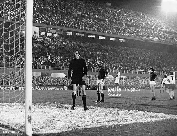Goalkeeper Fabio Cudicini of AC Milan in the goalmouth after Alan Mullery of Tottenham Hotspur scored in the seventh minute of the UEFA Cup semifinal...