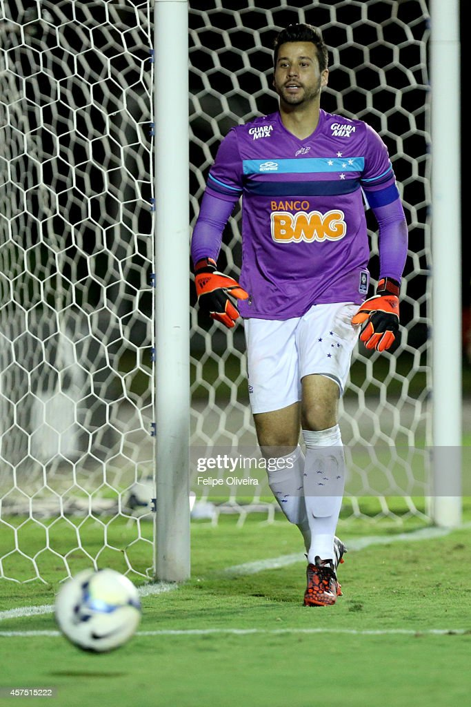 Goalkeeper Fabio of Cruzeiro reacts during during the match between Vitoria and Cruzeiro as part of Brasileirao Series A 2014 at Estadio Manoel Barradas on October 19, 2014 in Salvador, Bahia, Brazil.