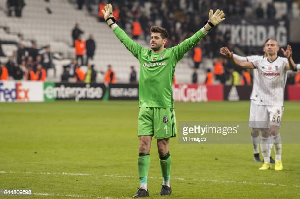 goalkeeper Fabricio Agosto Ramirez of Besiktas JK celebrate the victory with the supportersduring the UEFA Europa League round of 16 match between...