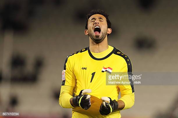 Goalkeeper Fahad Talib Raheem of Iraq celebrates victory and qualification to the 2016 Brazil Olympics during the AFC U23 Championship 3rd/4th...