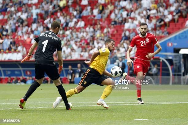 goalkeeper Farouk Ben Mustapha of Tunisia Eden Hazard of Belgium Hamdi Naguez of Tunisia during the 2018 FIFA World Cup Russia group G match between...