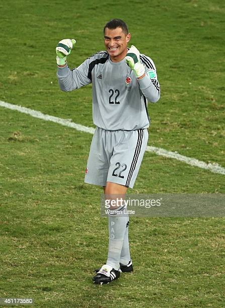 Goalkeeper Faryd Mondragon of Colombia celebrates during the 2014 FIFA World Cup Brazil Group C match between Japan and Colombia at Arena Pantanal on...