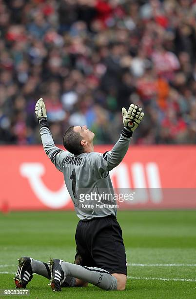 Goalkeeper Faryd Mondragon of Koeln celebrates after his team's second goal during the Bundesliga match between Hannover 96 and 1 FC Koeln at AWD...
