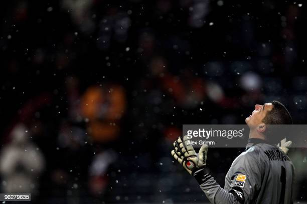Goalkeeper Faryd Mondragon of Koeln celebrates after winning the Bundesliga match between Eintracht Frankfurt and 1 FC Koeln at the Commerzbank Arena...