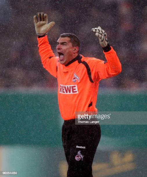 Goalkeeper Faryd Mondragon of Koeln reacts during the DFB Cup quarterfinal match between FC Augsburg and FC Koeln at the Impuls Arena on February 10...