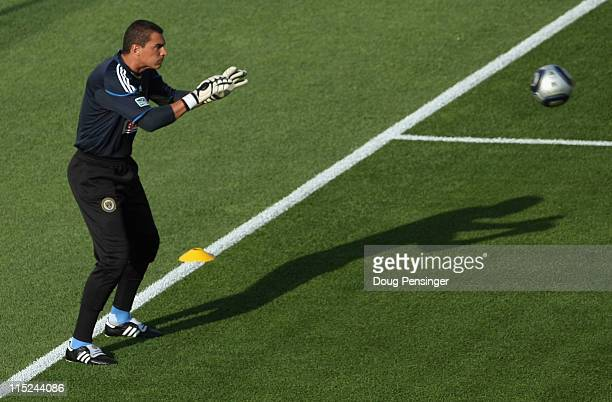 Goalkeeper Faryd Mondragon of the Philadelphia Union warms up prior to facing the Colorado Rapids at Dick's Sporting Goods Park on June 4 2011 in...