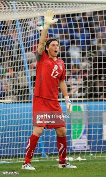 Goalkeeper Federico Marchetti of Italy during the 2010 FIFA World Cup South Africa Group F match between Slovakia and Italy at Ellis Park Stadium on...