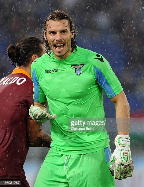 Goalkeeper Federico Marchetti of SS Lazio reacts during the Serie A match between SS Lazio and AS Roma at Stadio Olimpico on November 11 2012 in Rome...