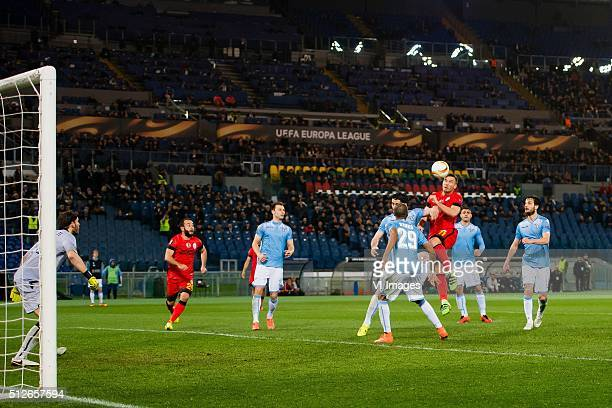 goalkeeper Federico Marchetti of SS Lazio Roma Olcan Adin of Galatasaray Stefan Radu of SS Lazio Roma Milan Bisevac of SS Lazio Roma Abdoulay Konko...