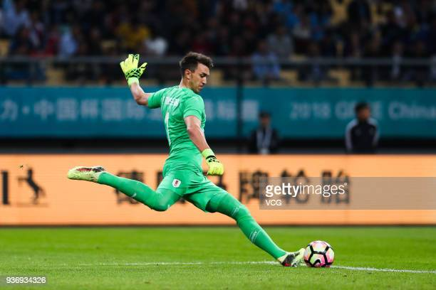 Goalkeeper Fernando Muslera of Uruguay kicks the ball during the 2018 China Cup International Football Championship match between Uruguay and Czech...