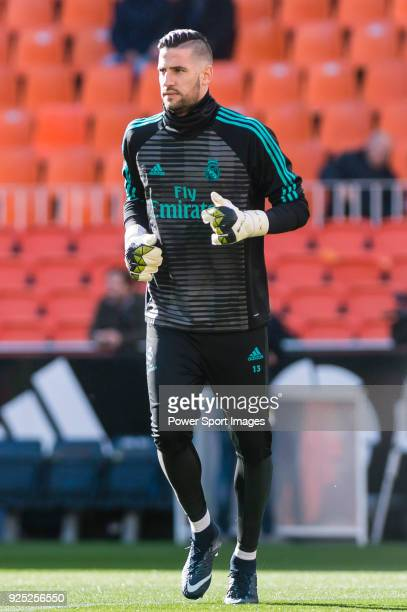 Goalkeeper Francisco Casilla Cortes K Casilla of Real Madrid reacts during the training prior to the La Liga 201718 match between Valencia CF and...