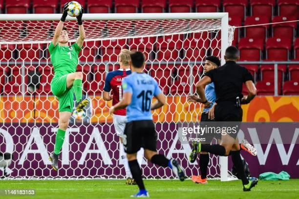 Goalkeeper Franco Israel of Uruguay U20, Erling Haland of Norway U20 during the FIFA U-20 World Cup Poland 2019 group C match between Uruguay U20 v...
