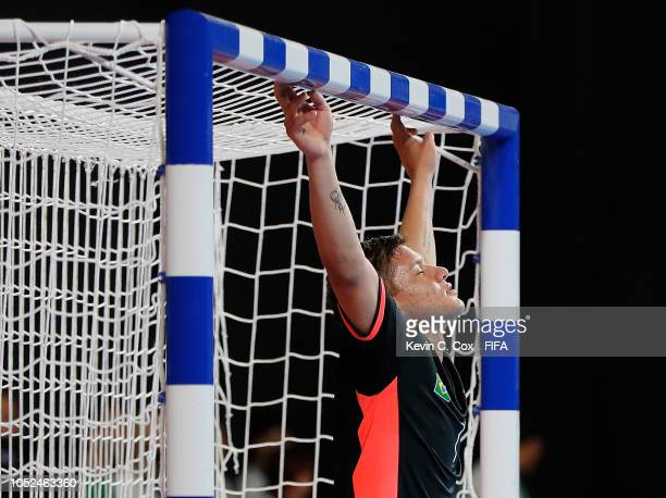 Goalkeeper Francoar of Brazil celebrates their 41 win over Russia in the Men's Futsal Final match between Brazil and Russia during the Buenos Aires...