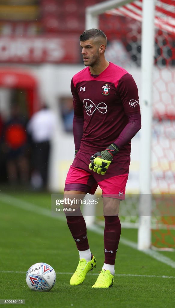 Goalkeeper Fraser Forster of Southampton during the Pre Season Friendly match between Brentford and Southampton at Griffin Park on July 22, 2017 in Brentford, England.