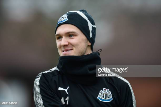Goalkeeper Freddie Woodman during the Newcastle United Training session at the Newcastle United Training Centre on December 22 in Newcastle upon Tyne...