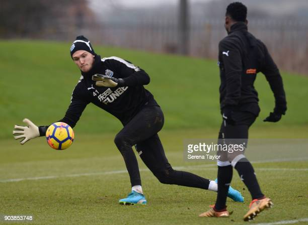 Goalkeeper Freddie Woodman during the Newcastle United Training session at the Newcastle United Training Centre on January 11 in Newcastle upon Tyne...