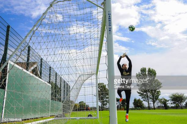 Goalkeeper Freddie Woodman jumps to catch the ball during the Newcastle United Training Session at the Newcastle United Training Centre on August 16...