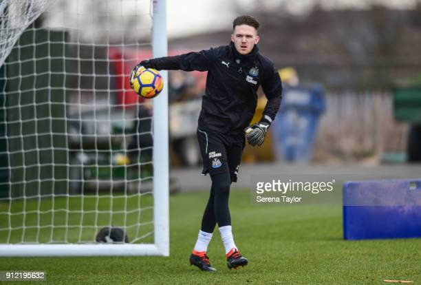 Goalkeeper Freddie Woodman passes the ball during The Newcastle United Training session at The Newcastle United Training Centre on January 30 in...