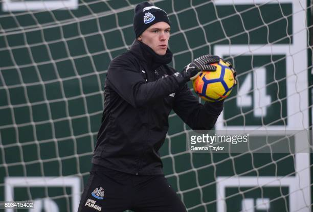 Goalkeeper Freddie Woodman saves the ball during the Newcastle United training session at the Newcastle United Training Centre on December 15 in...