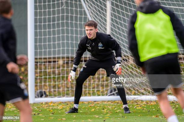 Goalkeeper Freddie Woodman sets himself during the Newcastle United Training session at the Newcastle United Training Centre on October 13 in...