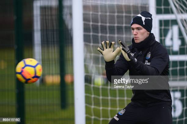 Goalkeeper Freddie Woodman sets himself to catch the ball during the Newcastle United training session at the Newcastle United Training Centre on...