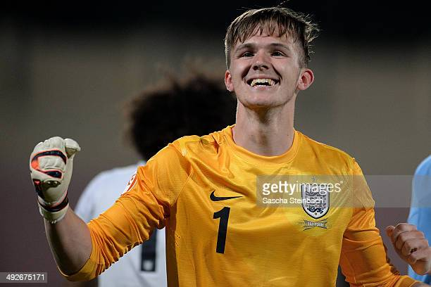 Goalkeeper Frederick Woodman of England celebrates after winning the UEFA Under17 European Championship 2014 final match against Netherlands at Ta'...