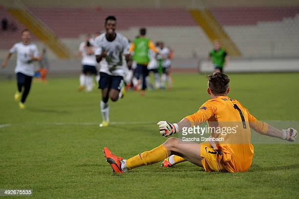 Goalkeeper Frederick Woodman of England reacts after winning the UEFA Under17 European Championship 2014 final match against Netherlands at Ta' Qali...