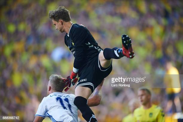Goalkeeper Frederik Ronnow of Brondby IF and Andreas Cornelius of FC Copenhagen compete for the ball during the Danish Cup Final DBU Pokalen match...