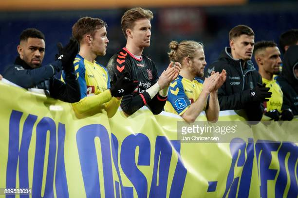 Goalkeeper Frederik Ronnow of Brondby IF and teammates after the Danish Alka Superliga match between Brondby IF and AGF Arhus at Brondby Stadion on...