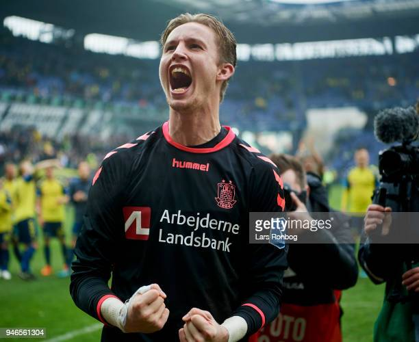 Goalkeeper Frederik Ronnow of Brondby IF celebrates after the Danish Alka Superliga match between Brondby IF and FC Copenhagen at Brondby Stadion on...