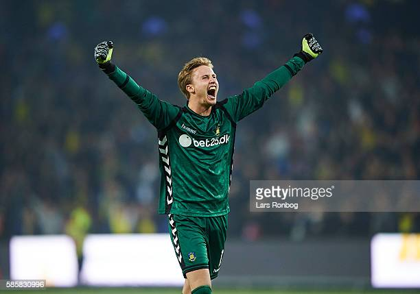 Goalkeeper Frederik Ronnow of Brondby IF celebrates after the UEFA Europa League qualifier match between Brondby IF and Hertha Berlin at Brondby...