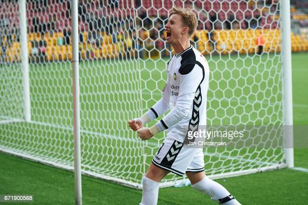 Goalkeeper Frederik Ronnow of Brondby IF celebrating with the fans after the Danish Alka Superliga match between FC Nordsjalland and Brondby IF at...