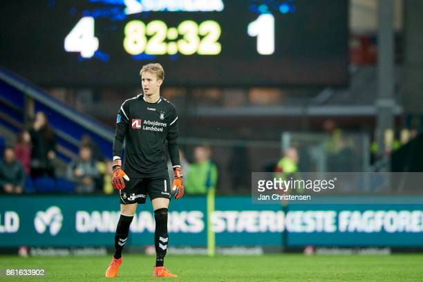 Goalkeeper Frederik Ronnow of Brondby IF during the Danish Alka Superliga match between Brondby IF and Silkeborg IF at Brondby Stadion on October 15...