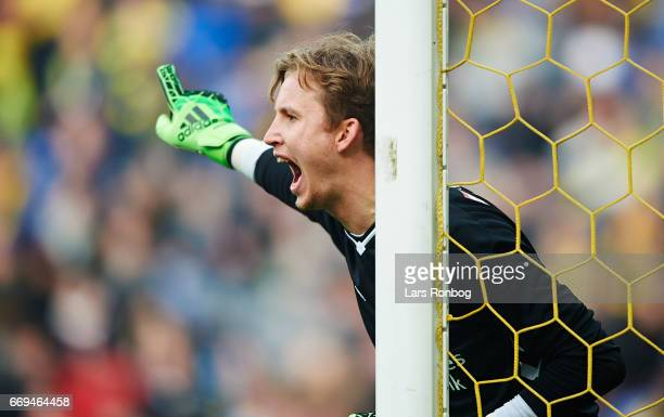 Goalkeeper Frederik Ronnow of Brondby IF gestures during the Danish Alka Superliga match between Brondby IF and FC Copenhagen at Brondby Stadion on...