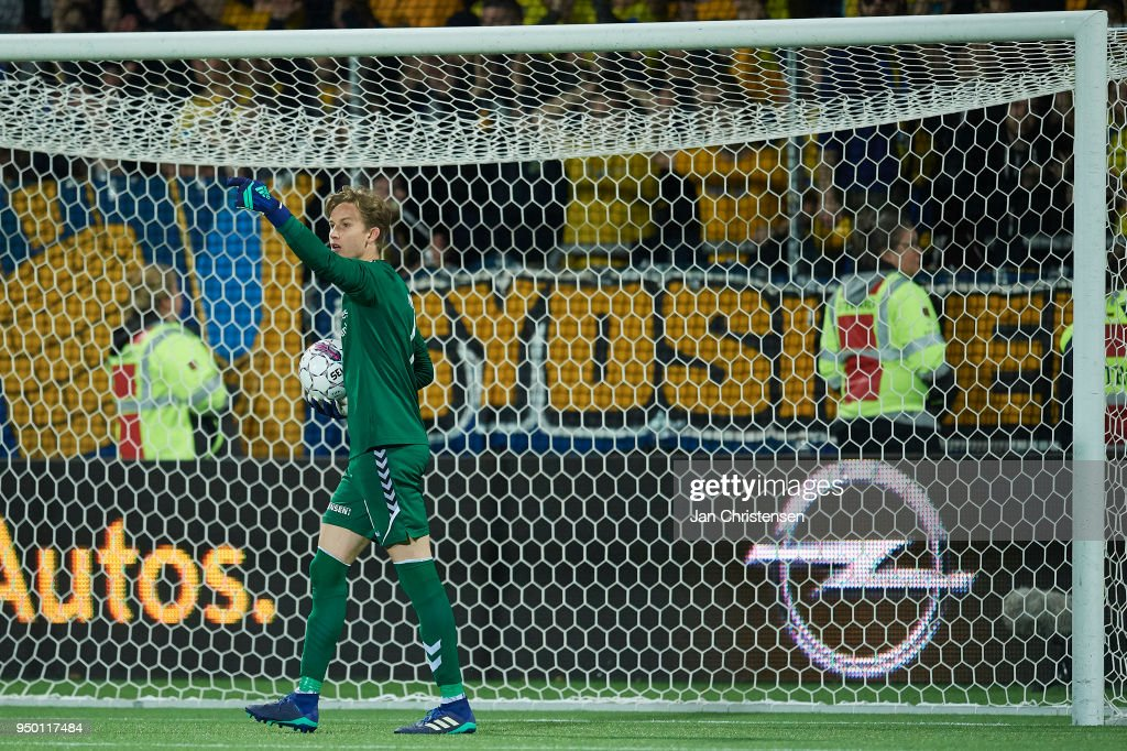 Goalkeeper Frederik Ronnow of Brondby IF gives instructions during the Danish Alka Superliga match between FC Nordsjalland and Brondby IF at Right to Dream Park on April 22, 2018 in Farum, Denmark.
