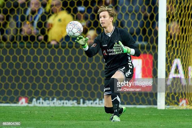Goalkeeper Frederik Ronnow of Brondby IF in action during the Danish Alka Superliga match between Brondby IF and FC Midtjylland at Brondby Stadion on...
