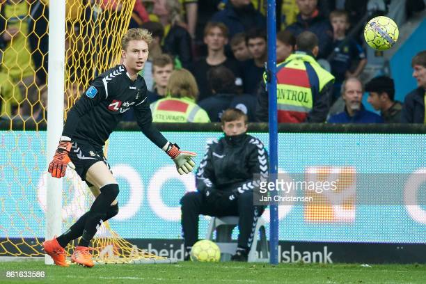 Goalkeeper Frederik Ronnow of Brondby IF in action during the Danish Alka Superliga match between Brondby IF and Silkeborg IF at Brondby Stadion on...