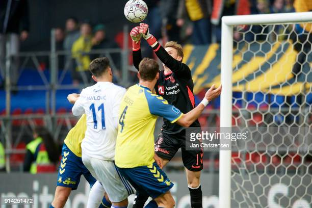 Goalkeeper Frederik Ronnow of Brondby IF in action during the Danish Cup DBU Pokalen match between FC Copenhagen and Brondby IF in Telia Parken...