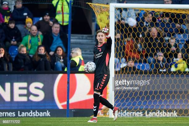 Goalkeeper Frederik Ronnow of Brondby IF in action during the Danish Alka Superliga match between Brondby IF and Hobro IK at Brondby Stadion on March...