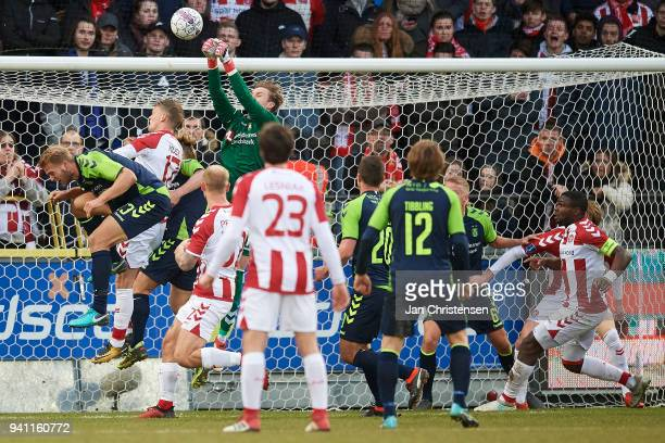 Goalkeeper Frederik Ronnow of Brondby IF in action during the Danish Alka Superliga match between AaB Aalborg and Brondby IF at Aalborg Portland Park...