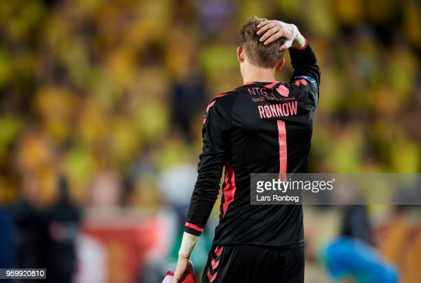 Goalkeeper Frederik Ronnow of Brondby IF looks dejected after the Danish Alka Superliga match between AC Horsens and Brondby IF at CASA Arena Horsens...