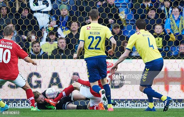 Goalkeeper Frederik Ronnow of Brondby IF saves the ball during the Danish Alka Superliga match between Brondby IF and Sondejryske at Brondby Stadion...
