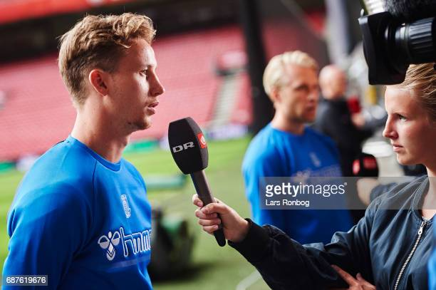 Goalkeeper Frederik Ronnow of Brondby IF speaks to the media during the Danish FA press conference the day before the Cup Final DBU Pokalen match...